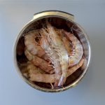 A bowl of prawns, they are large swimming crustaceans