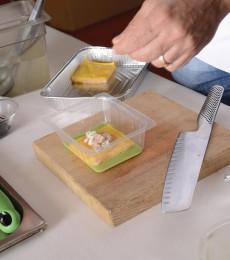 Plating the white sea lasagna