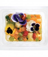 Lukewarm minestrone soup with pansies