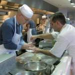 The teams cooking in the Culinari Arts Studio of the University of Brighton for Jamberry Ltd.