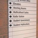 Grinnel College (USA); static signage for directions