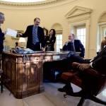 Barack Obama, David Axelrod, Rahm Emanuel in the Oval Office