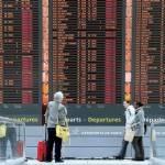 Departures board showing canceled flights