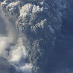 A plume of ash rising from the Icelandic volcano